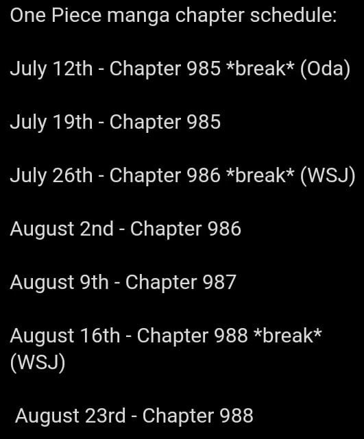 One Piece Release Dates